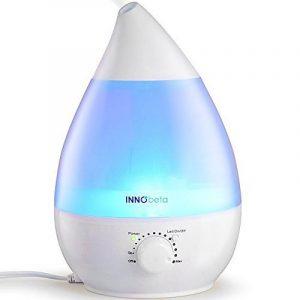 2,4 litre Humidificateur d'air bebe, chambre bebe Humidificateur Ultrasonique avec filtre (jusqu'à 35 m²), Électrique Brume Fraîche Humidificateur d'air, silencieux avec 7 Couleurs Lumières LED, Waterdrop de la marque InnoBeta image 0 produit