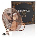 Brandson - Ventilateur in cuivre en design rétro avec 120 W | 50 cm de diamètre | Trois vitesses | débit d'air élevé | tête du ventilateur réglable | métal solide | couleur: cuivre de la marque Brandson image 6 produit