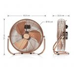 Brandson - Ventilateur in cuivre en design rétro avec 120 W | 50 cm de diamètre | Trois vitesses | débit d'air élevé | tête du ventilateur réglable | métal solide | couleur: cuivre de la marque Brandson image 2 produit