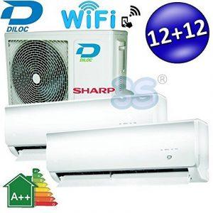 CLIMATISEUR DUAL SPLIT WIFI DILOC 12000+12000 BTU 3,2+3,2Kw compresseur SHARP de la marque DILOC image 0 produit