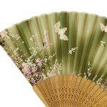 Feoya eventail Femme Motif de Fleurs Style Japonais Sakura Imprimée Papillons Pliant Ventilateur Evantail de Poche en Bambou Raffinée avec Pochette d'éventail Décoration Cadeau 21cm Vert de la marque FEOYA image 2 produit