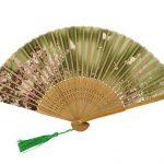 Feoya eventail Femme Motif de Fleurs Style Japonais Sakura Imprimée Papillons Pliant Ventilateur Evantail de Poche en Bambou Raffinée avec Pochette d'éventail Décoration Cadeau 21cm Vert de la marque FEOYA image 1 produit