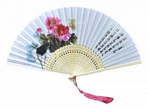 Fleur rétro vintage de Lady's Girl Ventilateur à main pliable à main en soie de la marque Black Temptation image 0 produit