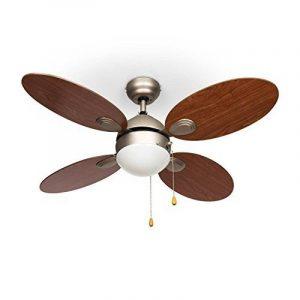 """Klarstein Valderama Ventilateur de plafond 4 pales (silencieux, diamètre de 42"""", 3 vitesses au choix : basse, moyenne, haute, lampe integrée) - cerisier de la marque Klarstein image 0 produit"""