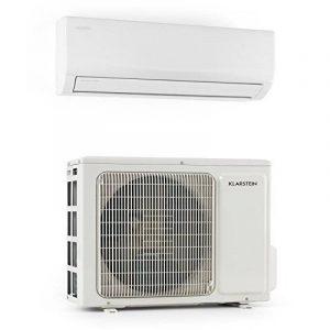 Klarstein Windwaker Pro 12 Climatiseur split inverter reversible (unités intérieure et extérieure fixes, air conditionné ultra silencieux, fonction chauffage, 12000 BTU, 600 m³/h) de la marque Klarstein image 0 produit