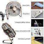 """Mini Ventilateur de Table USB Métal 8'' (6"""" Pales) - Portable et Silencieux - Couleur Cuivre Style Rétro pour PC, Maison, Bureau de la marque Glamouric image 2 produit"""