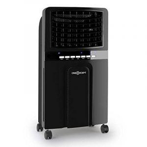 oneConcept Baltic Black Rafraichisseur d'air (ventilateur sur roulettes, 65W, fonction humidificateur, ioniseur, 3 niveaux de puissance, 400m³/heure) - noir de la marque OneConcept image 0 produit
