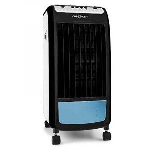 oneConcept Caribbean Blue Rafraichisseur d'air 3-en-1 (ventilateur, purification d'air, humidificateur, réservoir de 4L, 70W, packs frigorifiques intégrés) - blue & noir de la marque OneConcept image 0 produit