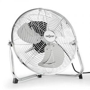 """oneConcept Metal Blizzard - Ventilateur de sol chromé / Brasseur d'air avec hélices 12"""" (30cm) 55W inclinable avec 3 réglages de vitesse et poignée de transport - design rétro de la marque OneConcept image 0 produit"""