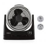 oneConcept Windmaker Ventilateur de table silencieux (fonction oscillation 25cm de diamètre, 3 vitesses, faible consommation, construction compacte) - noir chromé de la marque OneConcept image 1 produit