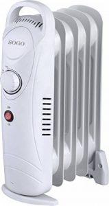 Sogo CAL-SS-18212Mini radiateur à huile électrique, 5éléments, blanc de la marque Sogo image 0 produit