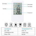 Thermomètre Hygromètre, Hotchy Thermomètre Hygromètre Intérieur de Digital d'humidité de Digital avec l'horloge d'affichage à cristaux liquides de réveil pour la maison Blanc de la marque Hotchy image 1 produit