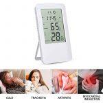 Thermomètre Hygromètre, Hotchy Thermomètre Hygromètre Intérieur de Digital d'humidité de Digital avec l'horloge d'affichage à cristaux liquides de réveil pour la maison Blanc de la marque Hotchy image 4 produit