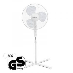 TROTEC Ventilateur sur pied TVE 15 S | Hauteur réglable entre 105 et 122 cm | Fonction d'oscillation automatique à 80° désactivable au besoin | Ventilateur à 3 vitesses | Puissance de 40 watts | fonctionnement ultra-silencieux | blanc | Diamètre des p image 0 produit